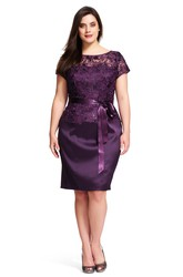 Pencil Short-Sleeve Floor-Length Scoop-Neck Splited Satin&Lace Plus Size Bridesmaid Dress With Ribbon And Beading