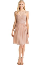 Knee-Length Spaghetti Sleeveless Criss-Cross Chiffon Muti-Color Convertible Bridesmaid Dress
