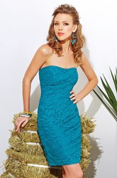 Strapless Short Lace Sheath Bridesmaid Dress With Asymmetrical Ruching