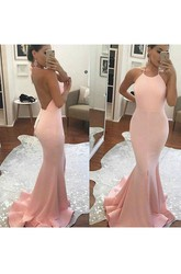 Sleeveless Sweep Brush Train Mermaid Trumpet Halter Satin Dress