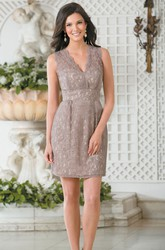 Sleeveless V-Neck Short Lace Sheath Bridesmaid Dress With Keyhole Back