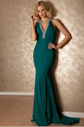 Maxi V-Neck Beaded Sleeveless Jersey Prom Dress With Brush Train