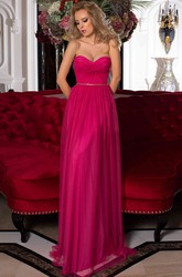 A-Line Sleeveless Empire Sweetheart Floor-Length Criss-Cross Tulle Prom Dress With Lace-Up Back And Waist Jewellery