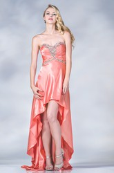 A-Line High-Low Sweetheart Sleeveless Satin Dress With Beading And Ruching