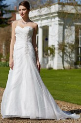 A-Line Sweetheart Beaded Satin Wedding Dress With Criss Cross And Lace Up
