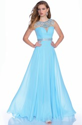 Jewel Neck Chiffon Sleeveless A-Line Prom Dress With Beaded Waist