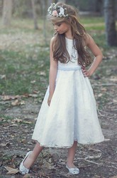 Tea-Length Floral Floral Tulle&Lace Flower Girl Dress