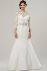 Maxi Scoop Appliqued 3-4-Sleeve Satin Wedding Dress With Sweep Train And Illusion