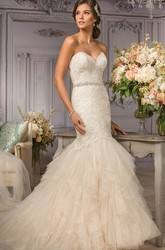 Sweetheart Trumpet Gown With Lace Appliques And Ruffles