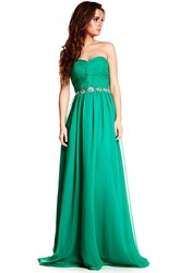 Maxi Ruched Sweetheart Sleeveless Chiffon Prom Dress