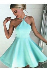 A-line Short Mini Sleeveless Halter Pleats Satin Homecoming Dress