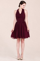 Halter Empire Knee-length Bridesmaid Dress
