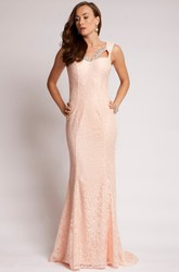 Sheath Floor-Length Sleeveless Beaded Lace Prom Dress