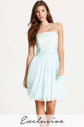 Short Appliqued Strapless Tulle Bridesmaid Dress