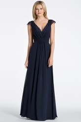 A-Line Cap-Sleeve Long Ruched V-Neck Chiffon Bridesmaid Dress With Lace And Keyhole Back