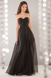 Sweetheart Floor-Length A-Line Gown With Crisscrossed Ruches