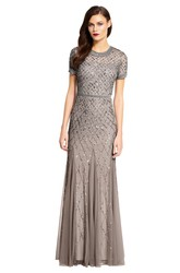 Sheath Scoop-Neck Short-Sleeve Floor-Length Sequins&Tulle Bridesmaid Dress
