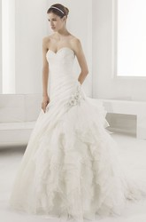 Sweetheart Mermaid Bridal Gown With Flowers And Tiered Skirt