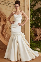 Mermaid Sweetheart Satin Wedding Dress With Criss Cross