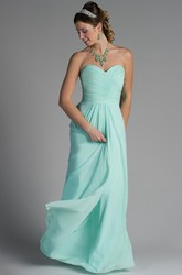 Criss Cross Top Sweetheart Chiffon Long Bridesmaid Dress With Pleats
