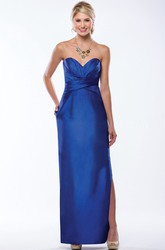 Sweetheart Long Bridesmaid Dress With Side Slit And Pockets