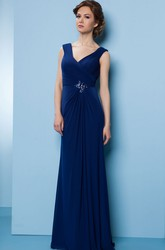 Long V-Neck Jeweled Chiffon Bridesmaid Dress With Sweep Train And V Back