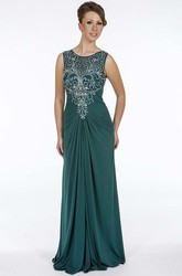 Sheath Beaded Floor-Length Sleeveless Scoop-Neck Chiffon Prom Dress With Draping