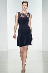 A Line Sleeveless Short Mini Scoop Neck Chiffon&Lace Bridesmaid Dress