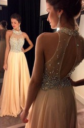 Glamorous High Neck Beadings Crystals Evening Dress 2018 A-line Zipper