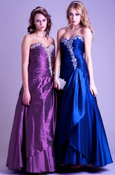 A-Line Ruched Sweetheart Sleeveless Maxi Satin Prom Dress With Beading And Draping