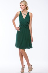 Sleeveless V-Neck Knee-Length Chiffon Bridesmaid Dress With Keyhole Back