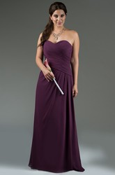 Sweetheart Criss Cross Bodice A-Line Chiffon Long Bridesmaid Dress