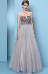 A-Line Beaded Sweetheart Sleeveless Floor-Length Tulle Prom Dress With Pleats