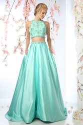 Two-Piece A-Line Jewel-Neck Sleeveless Satin Court Train Zipper Dress With Beading