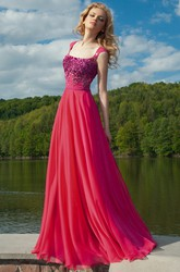 Crystal Cap-Sleeve Square-Neck Long Chiffon Prom Dress With Pleats
