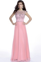 A-Line Cap Sleeve Chiffon Gown With Rhinestone Bodice