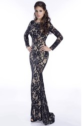 Trumpet Long Sleeve Lace Gown Featuring Brush Train And Beadings