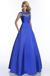 A-Line Jewel Neck Cap Sleeve Prom Dress Featuring Rhinestones Back