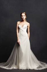 Sweetheart Floor-Length Tulle&Satin Wedding Dress With Criss Cross And Deep-V Back