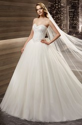 Sweetheart Back-Bow Puffy A-Line Bridal Gown With Beaded Bodice And Lace-Up Back
