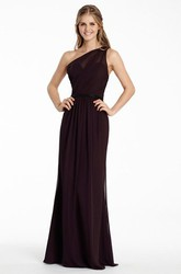 Sheath One-Shoulder Long Jeweled Sleeveless Chiffon Bridesmaid Dress With Ruching And Brush Train