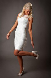 Full Lace Sheath Sleeveless Short Lace Wedding Dress With Lace-Up Back