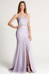 Mermaid Ruched V-Neck Sleeveless Tulle Bridesmaid Dress With Waist Jewellery