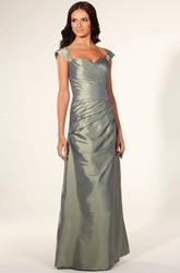 Ruched Cap-Sleeve Floor-Length Sweetheart Satin Bridesmaid Dress With Epaulet