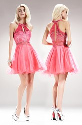 A-Line Short Scoop-Neck Sleeveless Tulle Satin Dress With Sequins And Beading