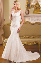 Long V-Neck Appliqued Lace Wedding Dress With Court Train And V Back