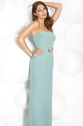 Sheath Strapless Long Jeweled Sleeveless Prom Dress