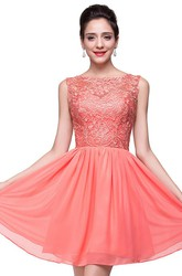 Lovely Lace Sleeveless Hoemcoming Dress 2018 Short Chiffon