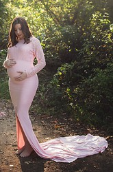 Mermaid Trumpet Court Train Long Sleeve Empire Maternity Dress