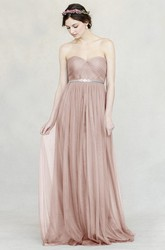 Sweetheart Empire Sleeveless Jeweled Tulle Bridesmaid Dress With Straps